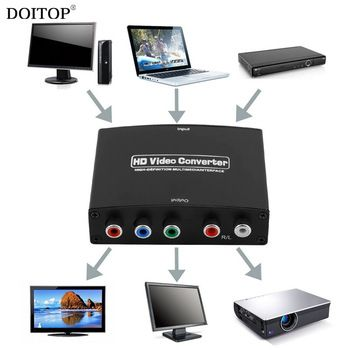 DOITOP 1080P HD Video HDMI to RGB Component (YPbPr) Video + R/L Audio Adapter Converter HD TV HDMI to YPBPR Converter Adapter