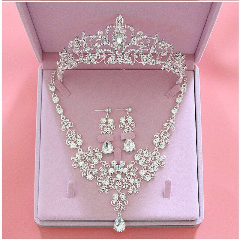 Fashion Crystal Wedding Bridal Jewelry Sets Tiara <font><b>Crown</b></font> Earring Necklace Bride Women Pageant Prom Jewelry Set Hair Ornaments