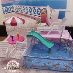 Boneka Aksesoris Boneka Barbie Mainan Kolam Renang Furniture Payung Pantai Kursi Dapat Slide untuk Boneka Barbie Renang