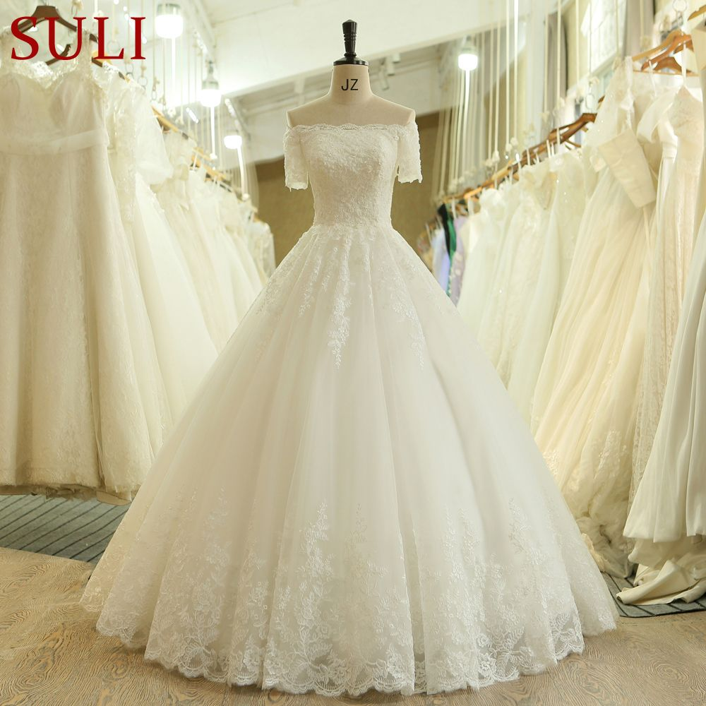 SL-537 Vintage Beads Lace Short Sleeve Off Shoulder Bridal Gown Wedding Dress 2018