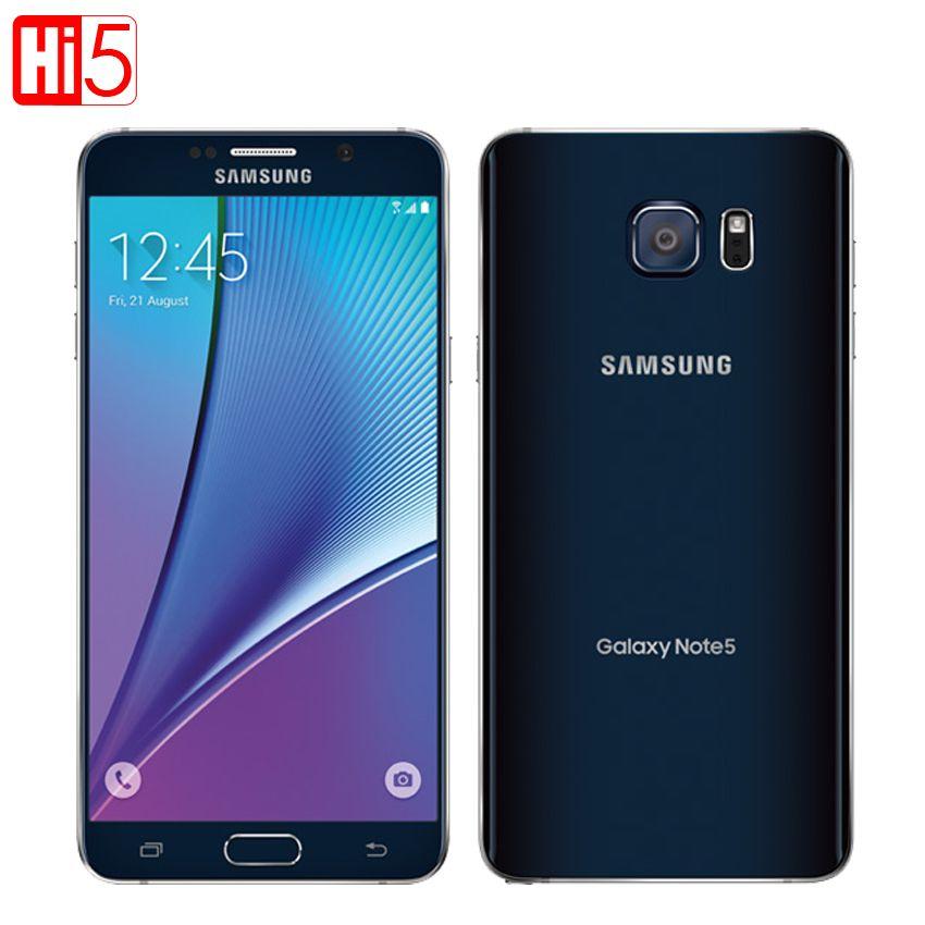 Entsperrt Samsung Galaxy Note 5 Octa-core handy Einzelnen SIM 16MP 5,7 zoll 4 GB RAM 32 GB ROM NFC Fingerprint Herz-rate smartphone