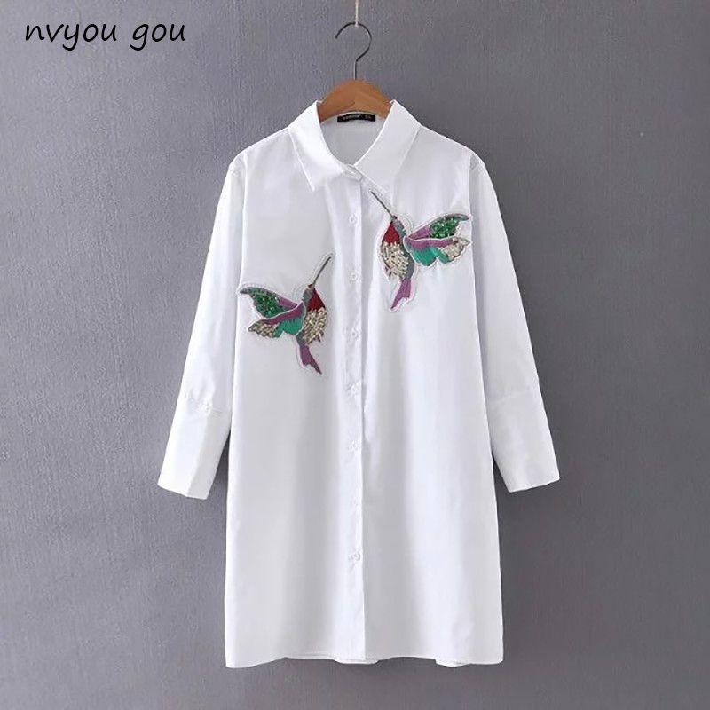 Nvyou gou 2019 femmes oiseau brodé blanc à manches longues Blouse chemises col rabattu printemps automne nouvelle mode bureau femme haut