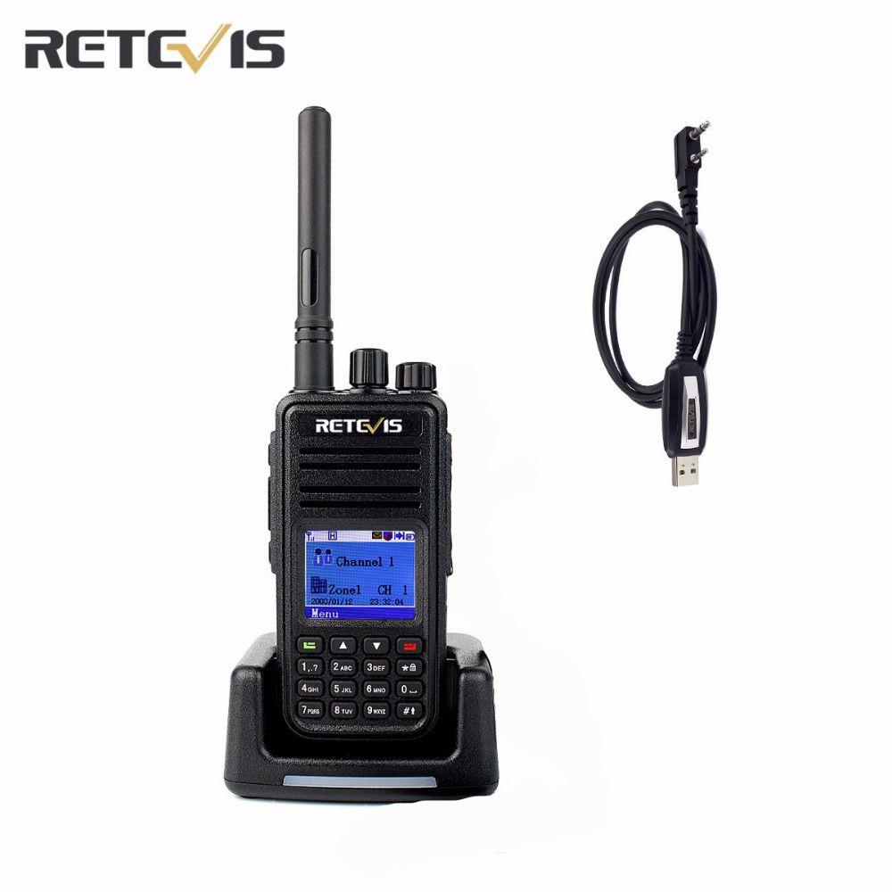 DMR цифровой (GPS) профессиональный Retevis RT3 Двухканальные рации 1000ch VHF/UHF CTCSS/DCS DTMF Портативный двухстороннее Радио + свободный кабель a9110