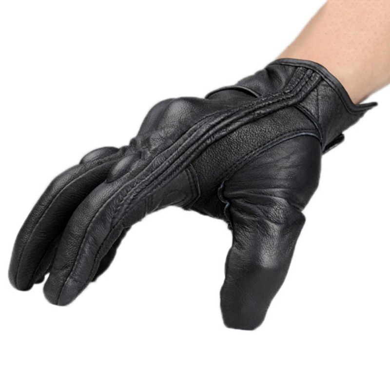 Men Glove real Leather Full Finger Black men Motorcycle Gloves Motorcycle Protective Gears Motocross Glove