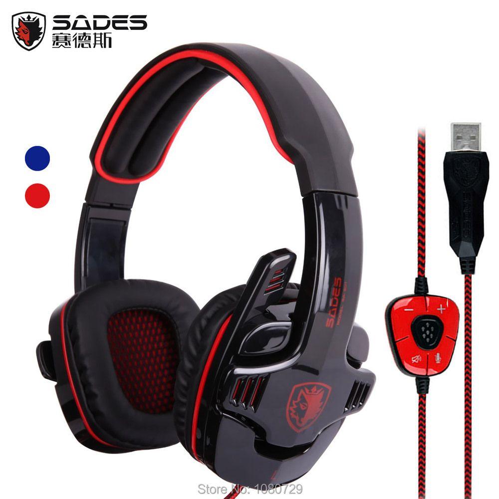 Sades 901 SA-901 SA901 USB игровая гарнитура 7.1 Surround Sound 901 игра наушники с микрофоном для ПК компьютер Gamer