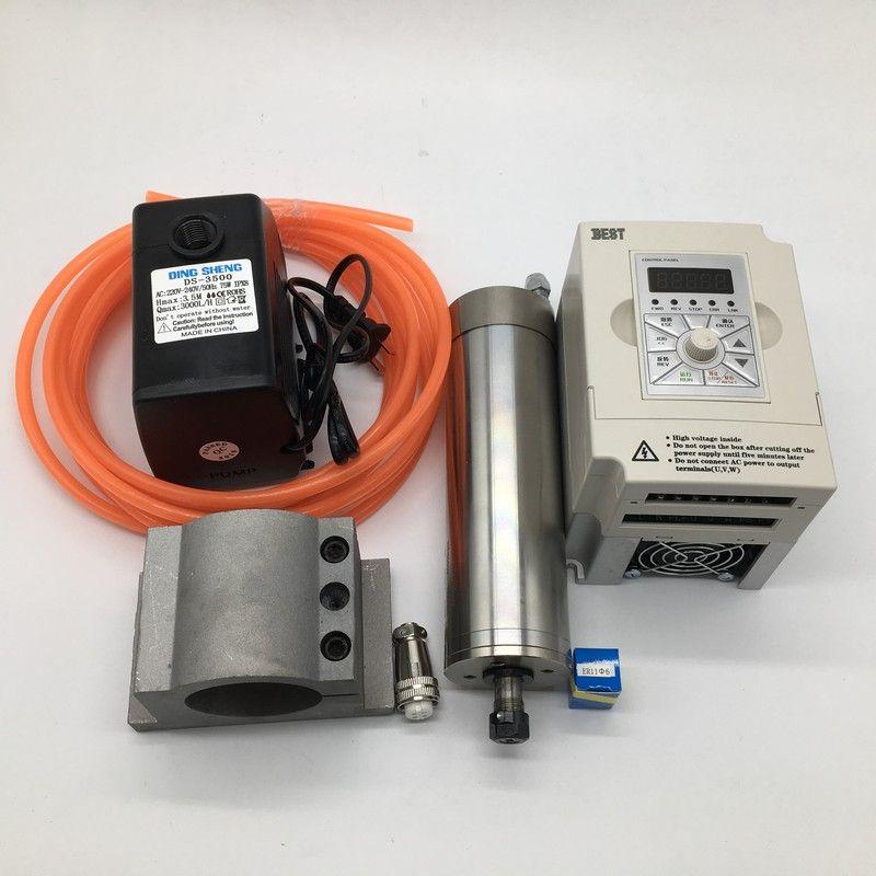 60000 rpm ER11 1.2Kw 1200 watt 62mm 220 v Wasser Gekühlt Spindel Motor + 1.5kw inverter VFD + 75 watt wasser pumpe kits Für CNC Gravur Router
