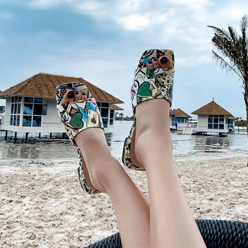 XiuNingYan 2019 Sommer Schuhe Mode Karree Frauen Hausschuhe Echtem Leder Slip auf Strand Urlaub Casual Schuhe Frau Rutschen