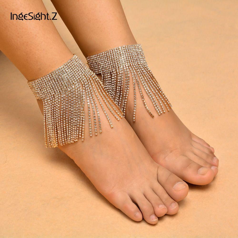 Sexy femmes Long gland cristal bracelets de cheville charme cheville bijoux été plage/mariage/fête déclaration brillant pieds nus bijoux