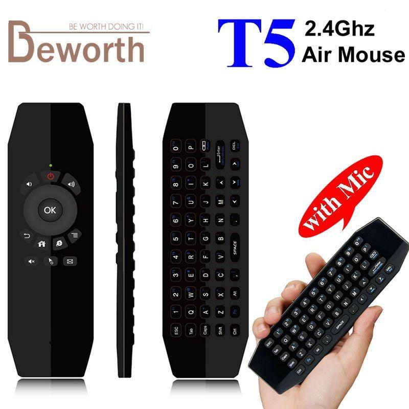 Mini souris d'air de mouche de clavier sans fil de T5 avec la télécommande intelligente de micro pour la boîte de TV d'android A95X X96 HTPC IPTV Mini PC Xbox Gamepad
