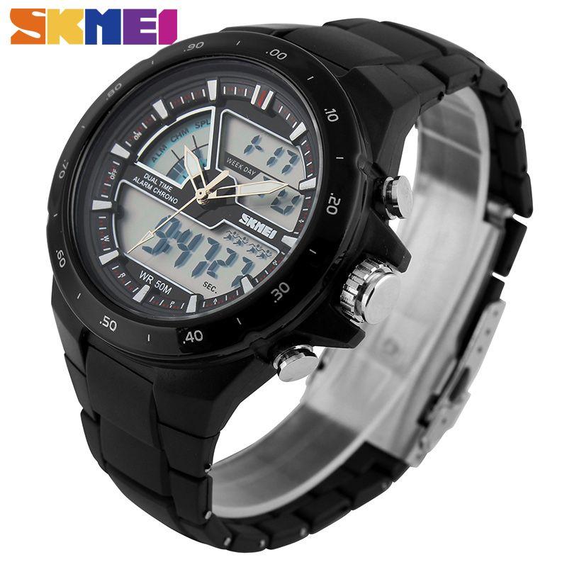 SKMEI Men Sports Watches Fashion Casual Men's Watch Digital Analog Alarm 30M Waterproof Military <font><b>Multifunctional</b></font> Wristwatches