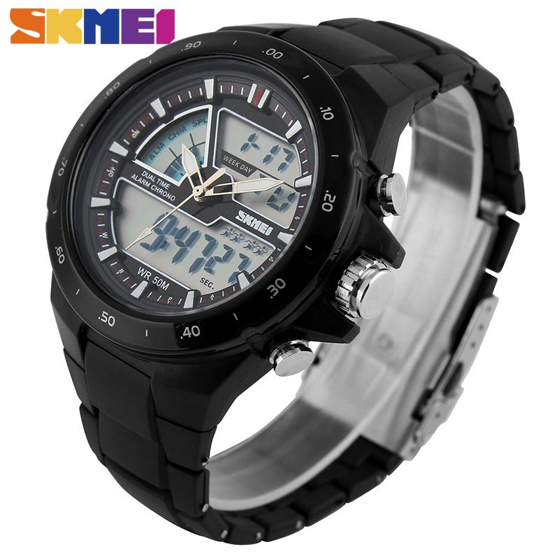SKMEI Men Sports Watches Fashion Casual Men's Watch Digital <font><b>Analog</b></font> Alarm 30M Waterproof Military Multifunctional Wristwatches