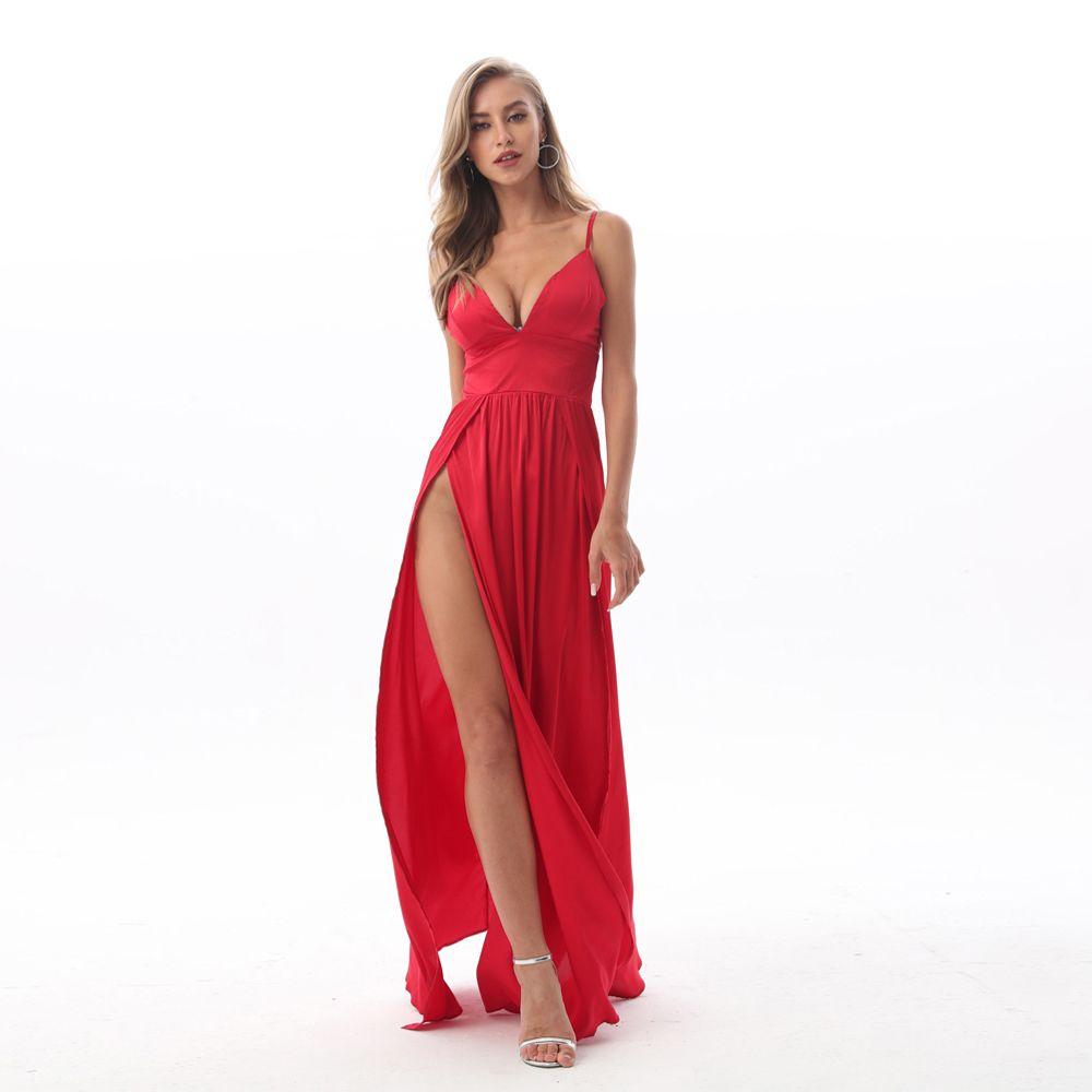 2019 Sexy Col En V Profond Dos Nu Maxi Robe 2 Haute Splits Robe Rouge En Satin Parole Longueur Dos Ouvert Nuit Club soirée Parti Robe