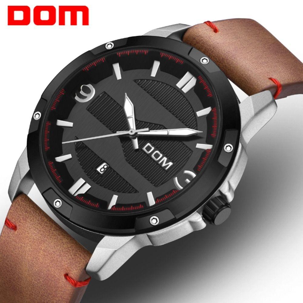 DOM Mens Watches Top Brand Luxury Big Dial Sport Quartz Wrist Watch Leather Strap Waterproof Calendar relogio masculino M-1219BL