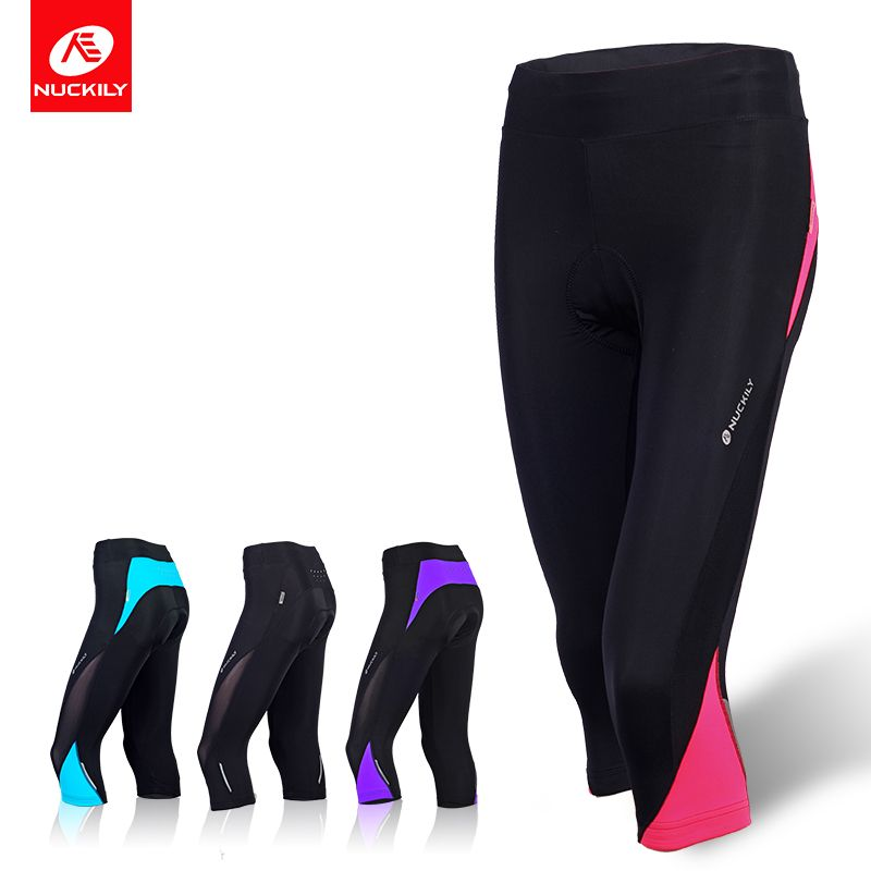 NUCKILY Women's 3/4 Cycling Pants Breathable Lycra Summer Road Bike Shorts Reflective Bicycle Tights GL001