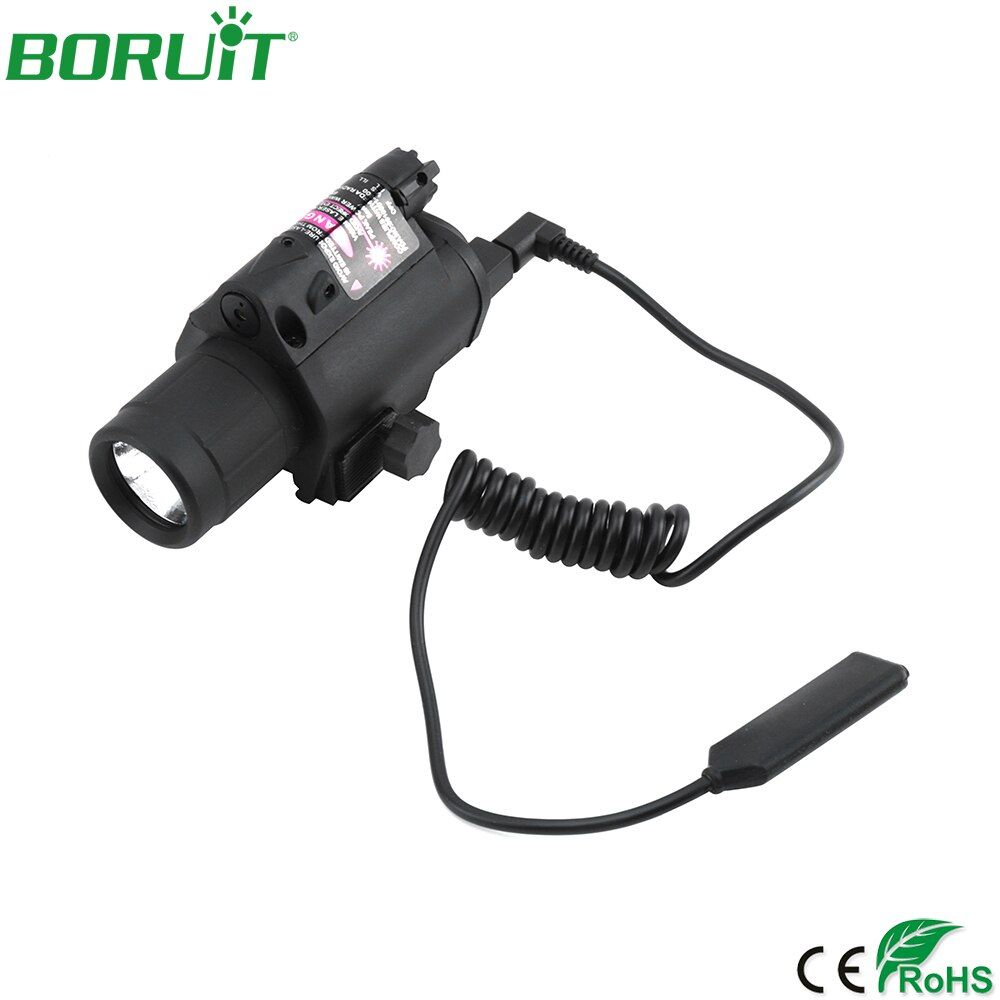 BORUiT Red Laser Sight Hunting Combo 2 in 1 LED Flashlight Tactical Flashlight Hunting Flash Light Torch Lamp Gun Mount