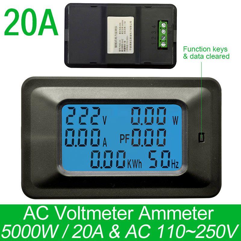 AC220V 20A Digital <font><b>Voltage</b></font> Meter Energy Meter LCD 5KW Power Voltmeter Ammeter Current Amps watt meter tester detector indicator
