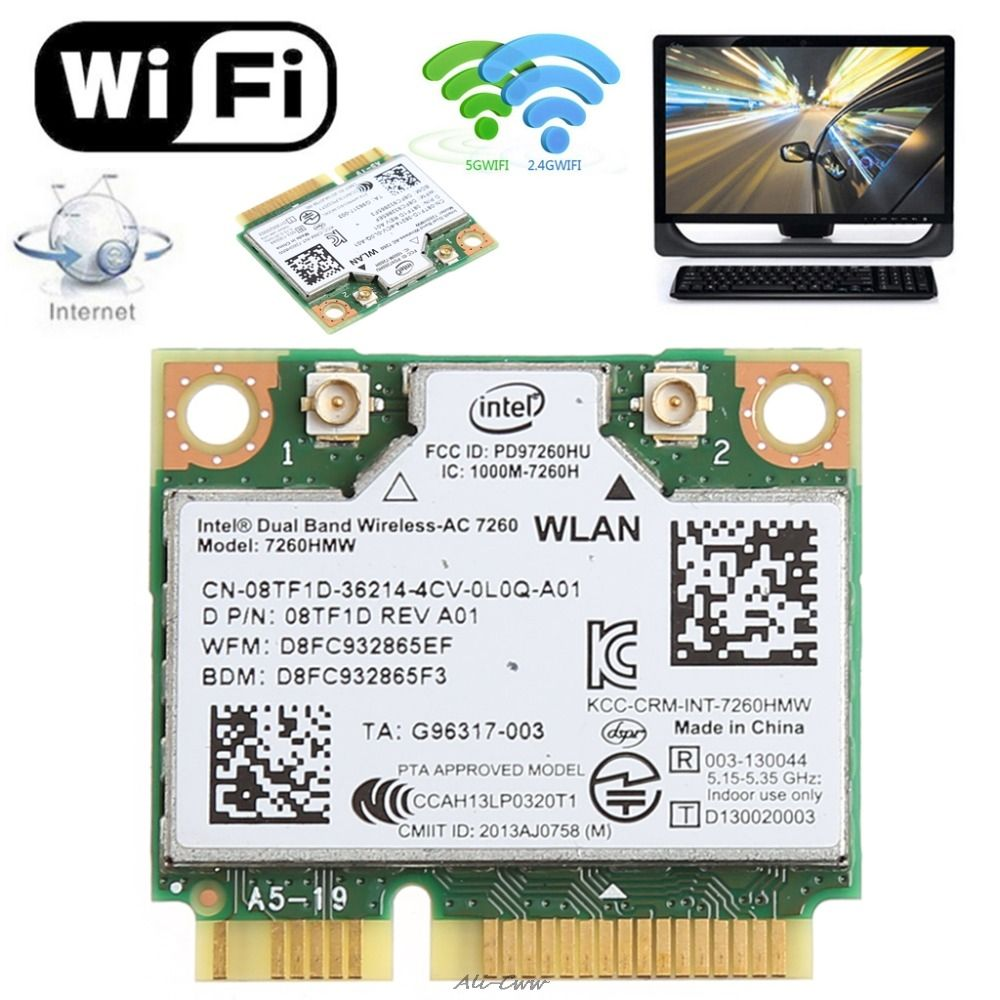876 M double bande 2.4 + 5G Bluetooth V4.0 Wifi sans fil Mini carte pci-express pour Intel 7260 AC DELL 7260HMW CN-08TF1D