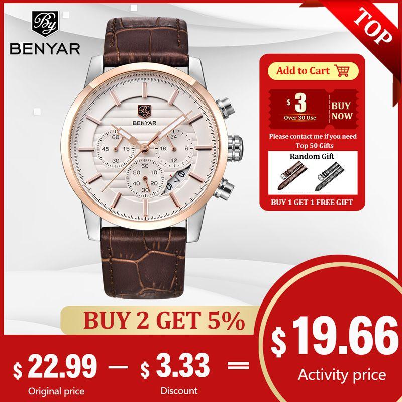 BENYAR montre hommes Top luxe marque Quartz Sport montres hommes mode analogique cuir mâle étanche montre-bracelet reloj hombre 2018