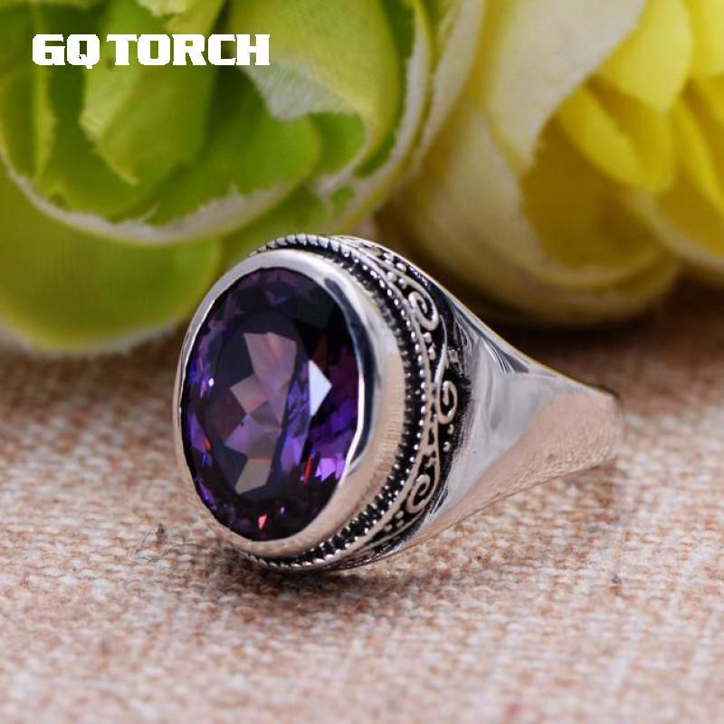 GQTORCH Natural Purple Amethyst Rings For Women 925 Sterling Silver Jewelry Vintage Thai Silver Flower Engraved Anelli Argento