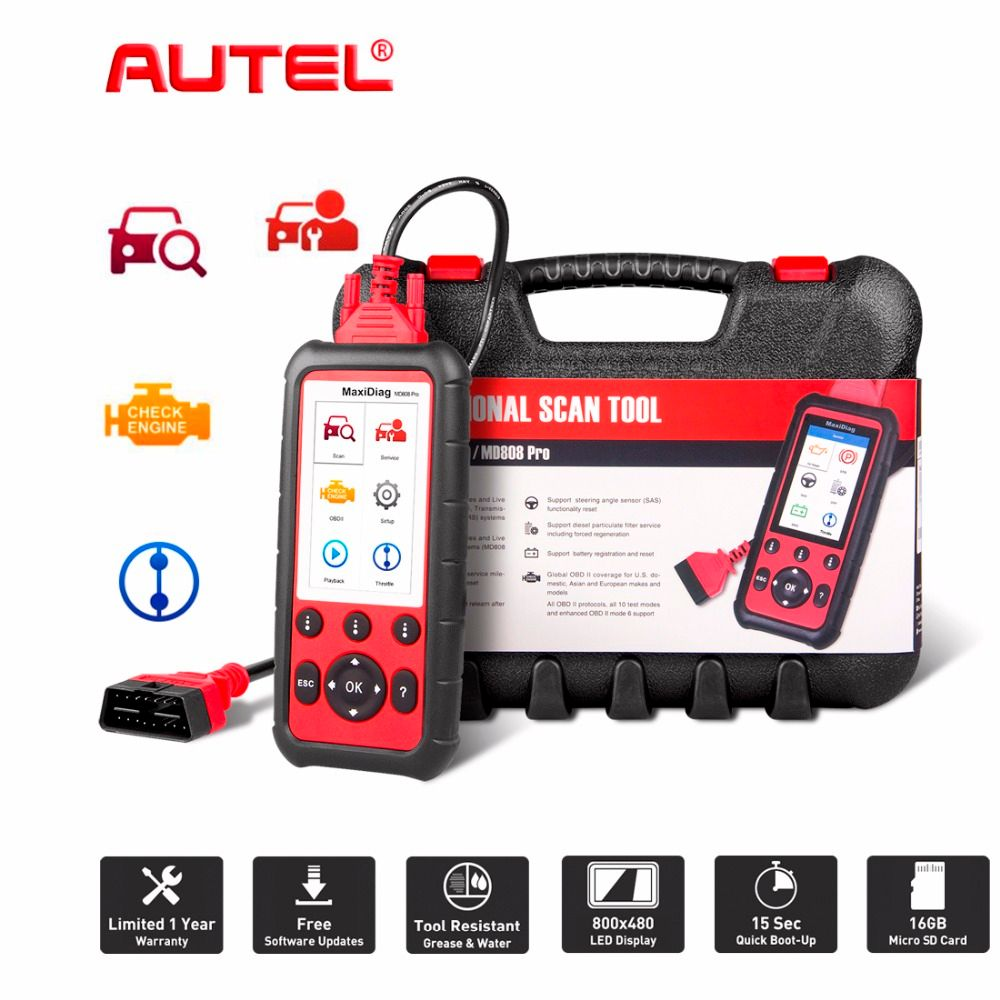 Autel MaxiDiag MD808 Pro All System OBDII Scanner for Oil and Battery Reset Registration Parking Brake Pad Relearn,SAS,SRS,ABS
