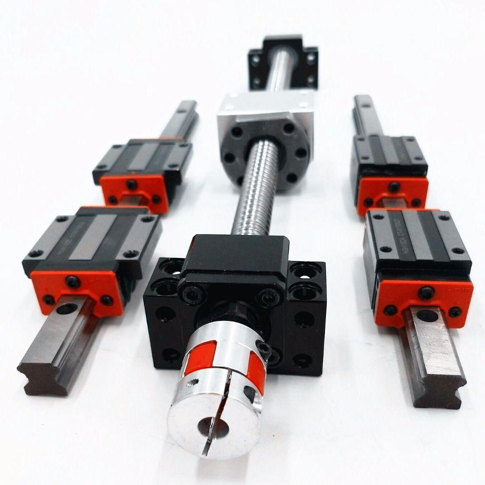 6 sets linear guideway Rail HBH20-450/1200/1300mm+4 ballscrews 1605-450/1200/1300/1300mm + bk12bf12 + shaft couplings for  cnc