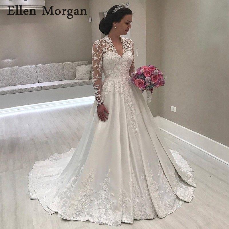 Vintgae Long Sleeves Satin Wedding Dresses 2018 Sexy V Neck Floor Length Lace Appliques Satin Summer Spring Garden Bridal Gowns