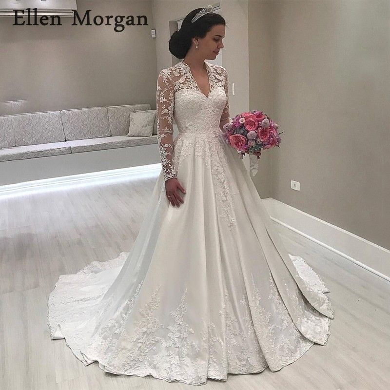 Vintgae Long Sleeves Satin Wedding Dresses 2018 Sexy V Neck Floor Length Lace Appliques Satin Summer Spring Garden Bridal Gowns
