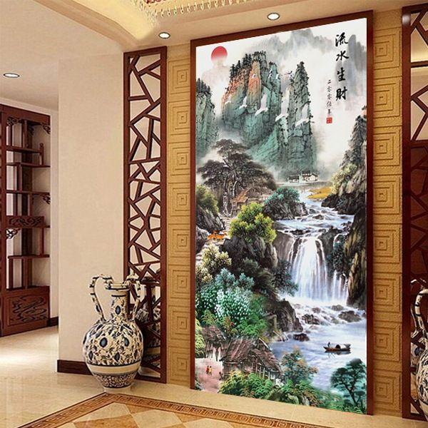 Needlework,DMC DIY Cross stitch,full Embroidery kit set, Sunrise Mountains waterfall plot chinese scenic Cross-Stitch painting