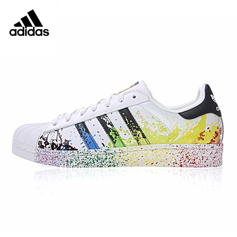 Adidas STAN SMITH Gold Label Clover Superstar Men And Women Skateboarding Shoes White Green Wearable Lightweight Breathable