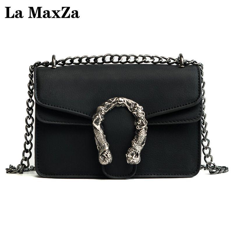 Новинка 2017 Женский пакет корейской моды небольшой площади сумка Trend дикий цепи пакет сумка La maxza