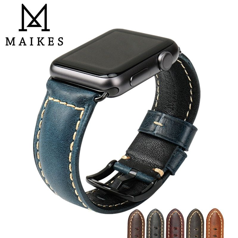 MAIKES pour Apple bracelet de montre 42mm 38mm/44mm 40mm série 4/3/2/1 iWatch bleu pétrole cire cuir bracelet de montre pour Apple montre bracelet