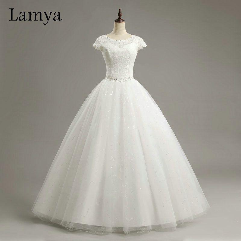 Lamya Short Lace Sleeve  Style Fashionable Wedding Dress Crystal Wedding Dresses 2017 Vintage Bride Gowns vestido de noiva