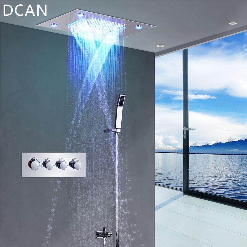 DCAN LED Decke Dusche Kopf Regen Wasserfall Dusche Massage Jets Wand Montiert Panel Wasserhahn Sets Thermostat Mischer