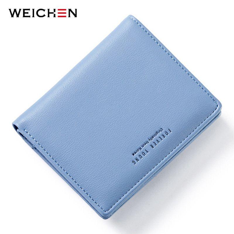 WEICHEN mince Style femmes portefeuilles Zipper Coin sac à dos bleu en cuir souple porte-cartes pour femme mince sac à main femme portefeuille petit chaud