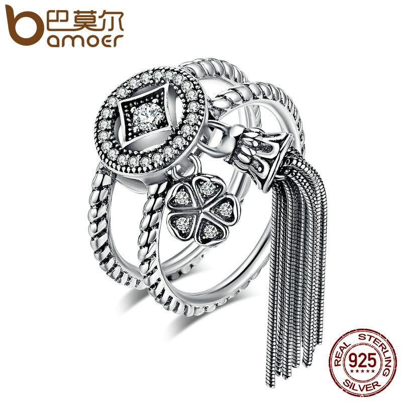 BAMOER 100% 925 Sterling Silver Double Layer Round & Geometric Long Tassel Finger Ring for Women Bohemian Vintage Jewelry SCR088
