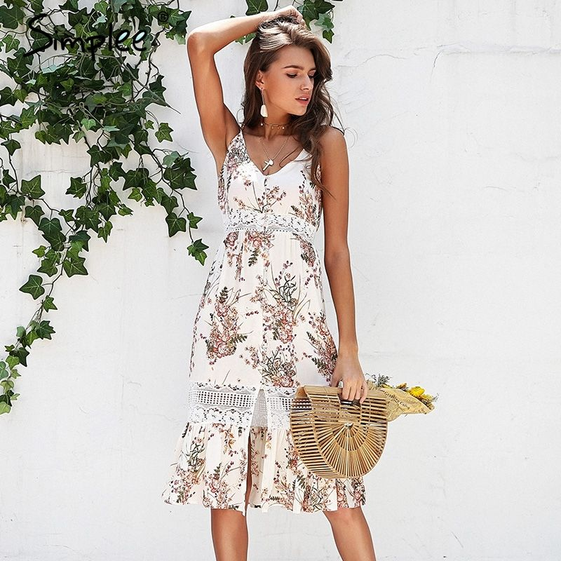 Simplee Strap floral print boho dress women <font><b>Hollow</b></font> out lace summer dress female V neck streetwear midi casual dress vestidos