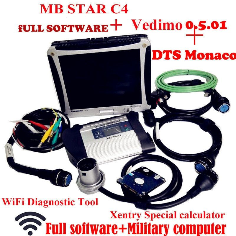 Top Quality Mb Star C4 2018-5 Vediamo+DTS Work for Mercedes Star Diagnosis with Panasonic CF19 Notebook Work for Car&truck