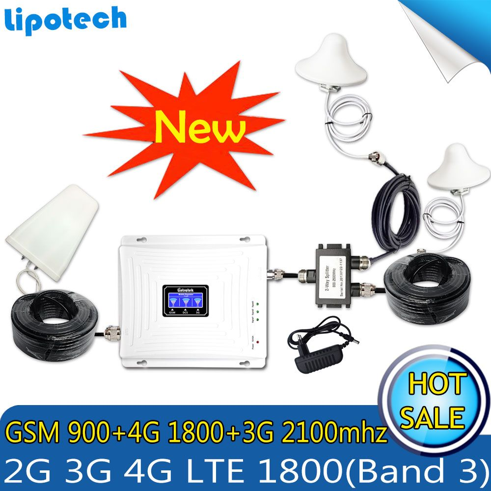Two Antennas Set Tri-Band signal Booster GSM 900 3G WCDMA 2100 4G LTE 1800 Cell Phone Cellular Repeater repetido 3G 4G Antennas