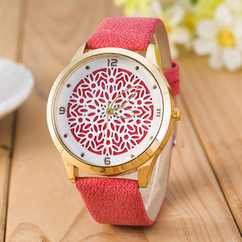 2017 neueste Blume Gedruckt Uhren Mode Frauen Analog Quarz Armbanduhr Dame Kleid Leder 9 Stile