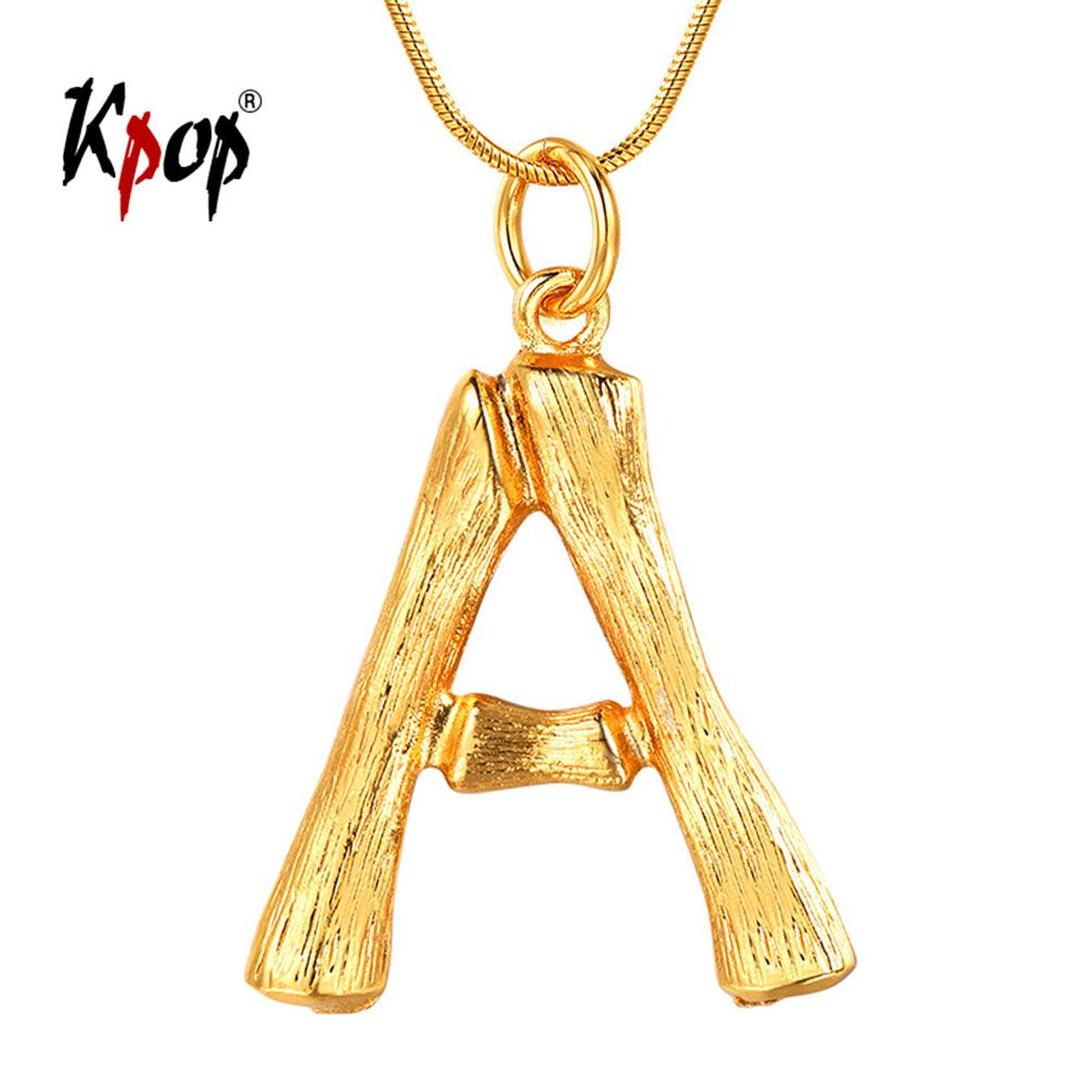 Kpop Bamboo Initial Necklace Statement Jewelry Gold Color Alphabet Letter Name Necklace Personalize Bridesmaid Gifts P9074