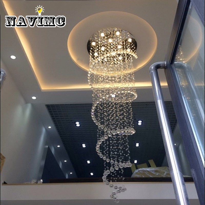 D80CM Modern led Spiral Lustre Crystal Chandelier Light Fixtures Long Stair Light for Staircase Hotel Foyer Living Room