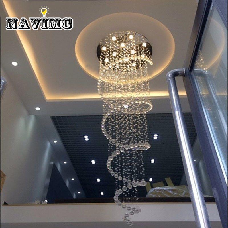 D80CM Modern led Spiral Lustre Crystal Chandelier Light Fixtures Long Stair Light for Staircase Hotel Foyer Living Room