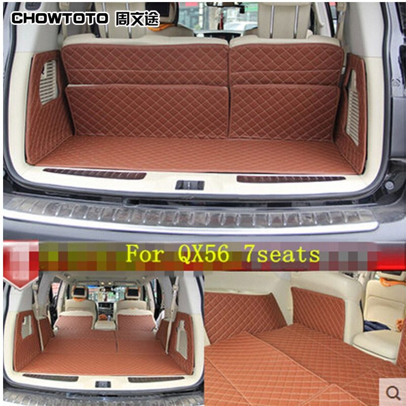 CHOWTOTO AA Custom Special Trunk Mats For Infiniti QX56 7seats Durable Waterproof Luggage Mats For QX56 7 Seat Model