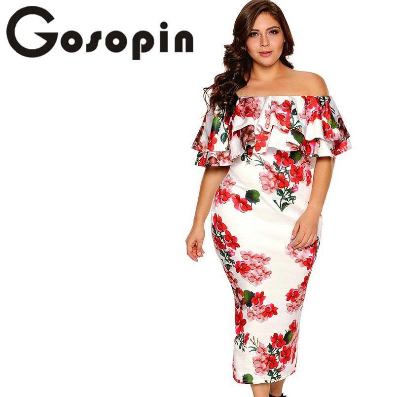 Gosopin épaule dénudée robes d'été Floral à volants élégant fête moulante robe grande taille XXXL Vestidos De Festa Longo LC61611