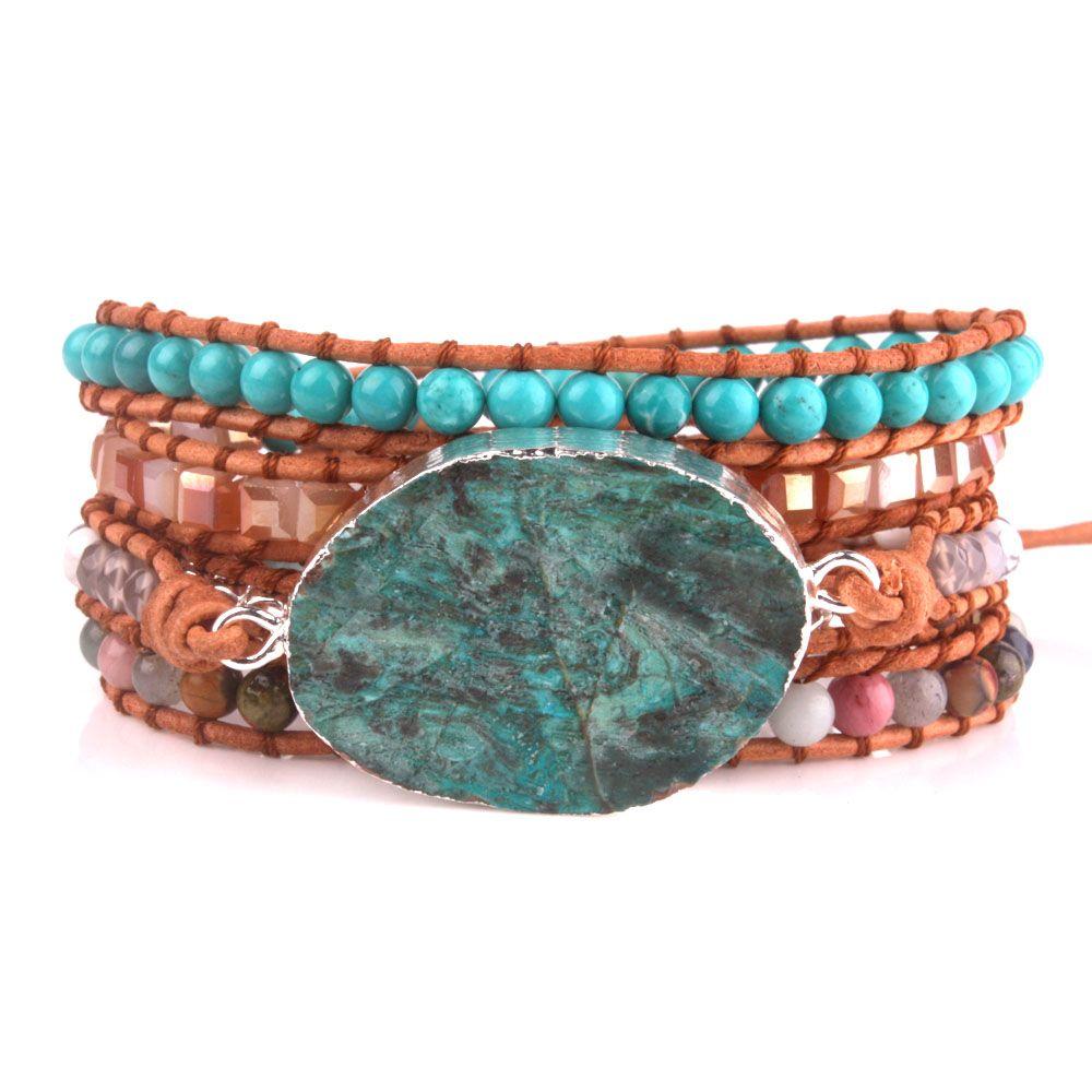 5x Ocean Stone wrap Bracelet Boho Chic Jewelry