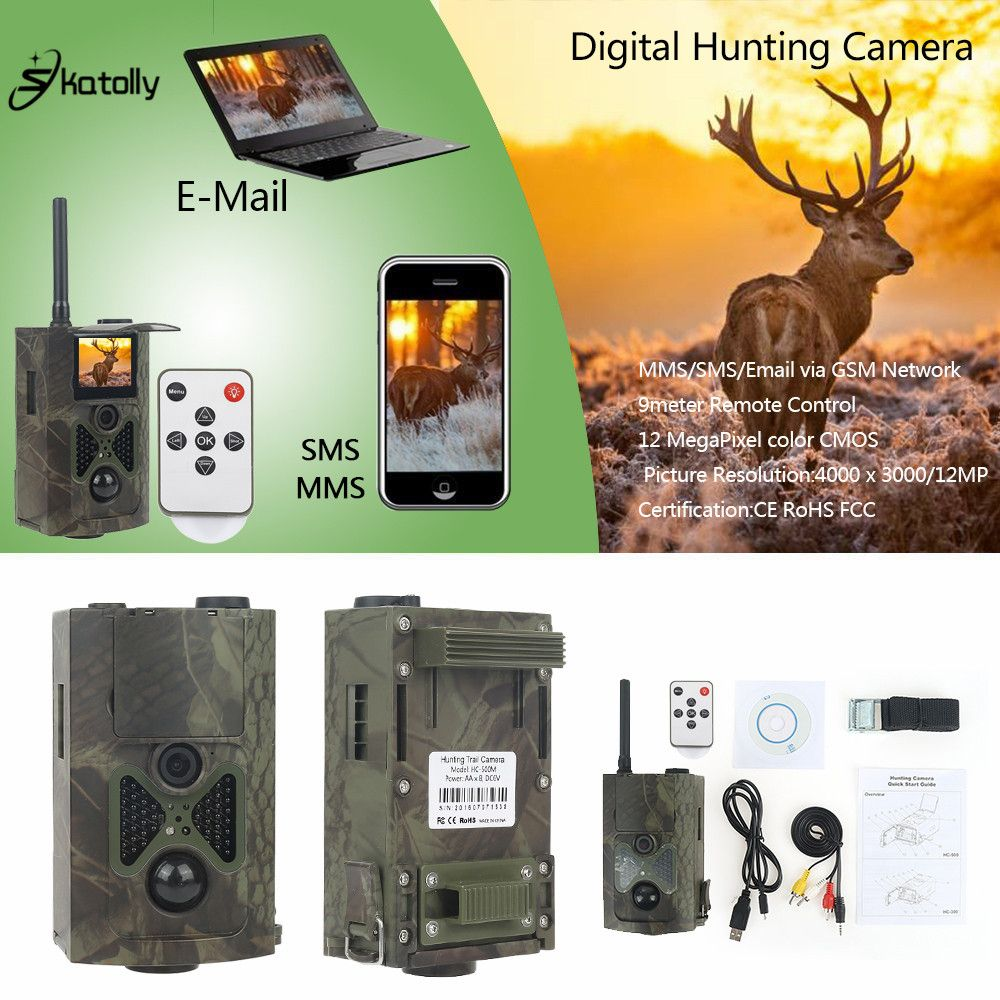 Skatolly HC-500M Digital Infrared Hunting Trail Camera mms <font><b>12MP</b></font> 1080P Video Night Vision Wildlife Photo Traps gsm hunting cam
