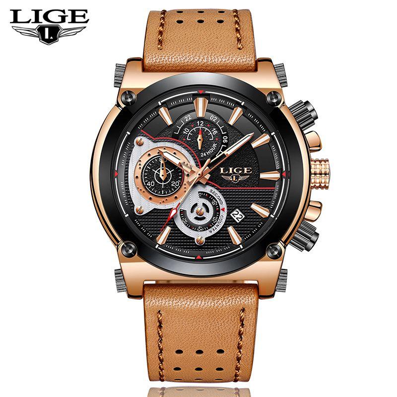 LIGE Herren Uhren Top-marke Luxus Quarz Gold Uhr Männer Casual Leder Militärische Wasserdichte Sport Armbanduhr Relogio Masculino