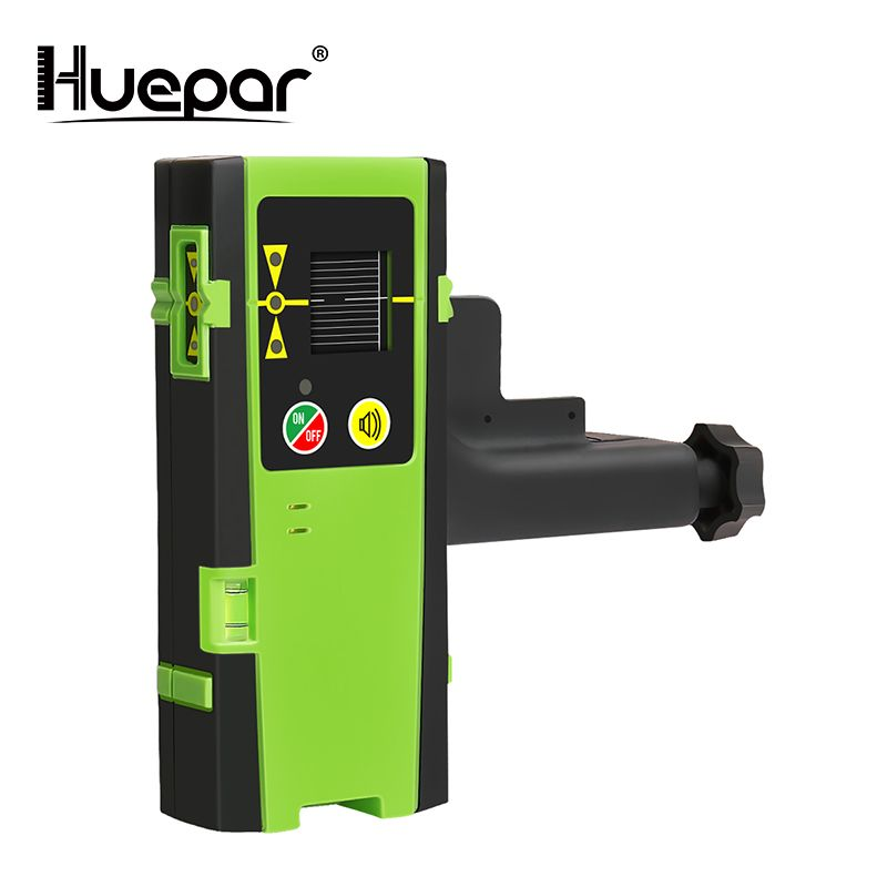 Huepar Digital LCD Laser Receiver Outdoor Mode Laser Detector Pulsing Detect Red & Green Beam Cross Line Laser Level With Clamp