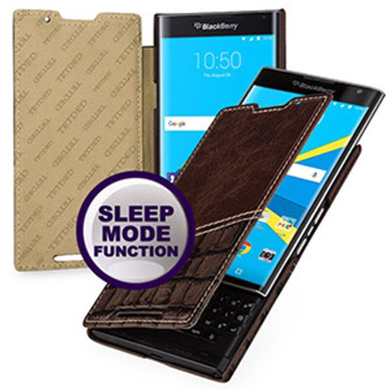 Smart Sleep/wake Folio Flip Cover for Blackberry Priv Case 100% Top Grade Cowhide Genuine Leather Cases Protective Skin for Priv