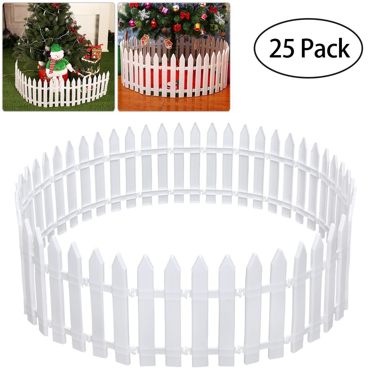White Plastic Fence Miniature Home Garden Christmas Xmas Tree Wedding Party Decoration (25 Pieces)